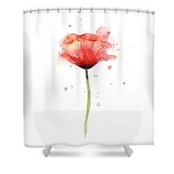 Red Poppy Watercolor Shower Curtain