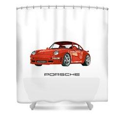 Red Porsche 993 1997 Twin Turbo R Shower Curtain