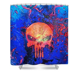 Red Punish Shower Curtain by Justin Moore