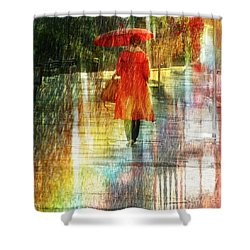 Shower Curtain featuring the photograph Red Rain Day by LemonArt Photography