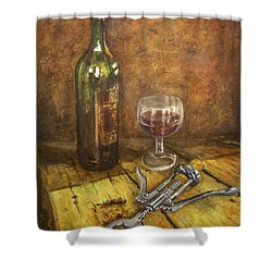 Red Red Wine Shower Curtain by Marty Garland