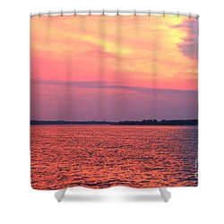 Red Reflection  Shower Curtain by Yumi Johnson