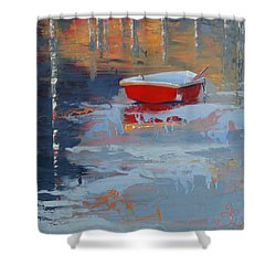 Red Reflections Shower Curtain by Trina Teele