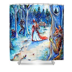 Shower Curtain featuring the painting Red Riding Hood And Werewolves by Heather Calderon