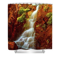 Shower Curtain featuring the painting Red River Falls by Peter Piatt
