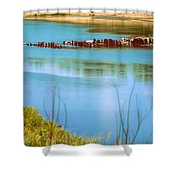 Shower Curtain featuring the photograph Red River Crossing Old Bridge by Diana Mary Sharpton