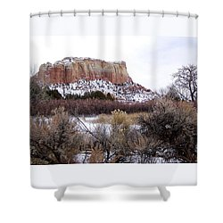 Red Rock Butte In Snow Shower Curtain