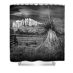 Shower Curtain featuring the photograph Red Rock Formation In Sedona Arizona In Black And White by Randall Nyhof