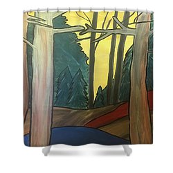 Red Rock In Woods Shower Curtain