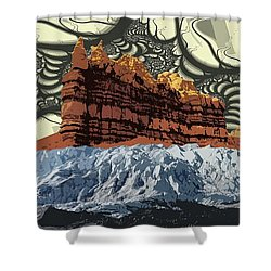 Red Rock White Ice Shower Curtain by Ron Bissett