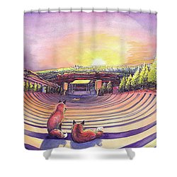 Shower Curtain featuring the painting Red Rocks Sunrise by David Sockrider