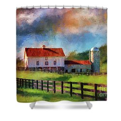 Shower Curtain featuring the digital art Red Roof Barn by Lois Bryan