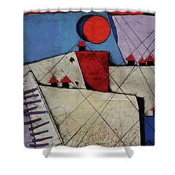 Red Roof Village  Shower Curtain