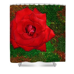 Red Rose 2 Shower Curtain by Jean Bernard Roussilhe