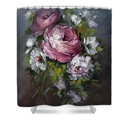 Red Rose And White Peony Shower Curtain by David Jansen