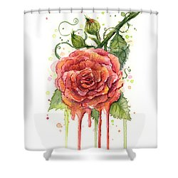 Red Rose Dripping Watercolor  Shower Curtain by Olga Shvartsur