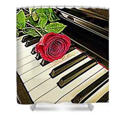 Red Rose On A Piano  Shower Curtain