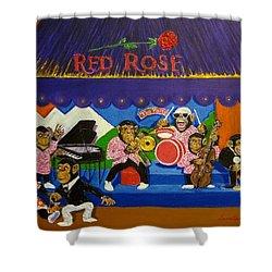 Red Rose Tea Chimpanzees Shower Curtain