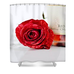 Red Rose With Champagne Shower Curtain