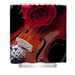 Red Rose With Violin Shower Curtain by Garry Gay