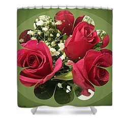 Shower Curtain featuring the digital art Red Roses And Baby's Breath Bouquet by Sonya Nancy Capling-Bacle