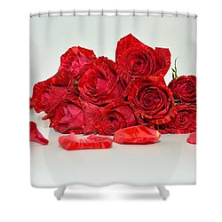 Red Roses And Rose Petals Shower Curtain
