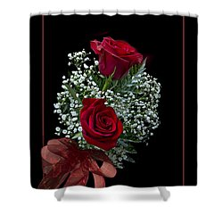 Red Roses For A Blue Lady Shower Curtain by Judy Johnson