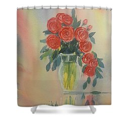 Red Roses For My Valentine Shower Curtain