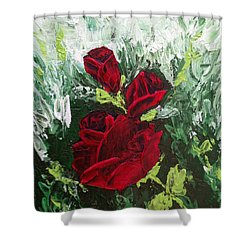Red Roses In Bloom Shower Curtain