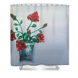 Red Roses In Silver Pot Shower Curtain