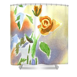 Red Roses With Holly In A Vase Shower Curtain by Kip DeVore