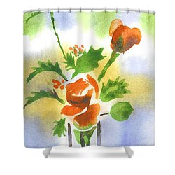 Red Roses With Holly Shower Curtain by Kip DeVore