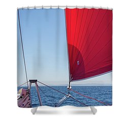 Shower Curtain featuring the photograph Red Sail On A Catamaran by Clare Bambers