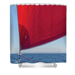 Shower Curtain featuring the photograph Red Sail On A Catamaran 2 by Clare Bambers