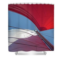 Shower Curtain featuring the photograph Red Sail On A Catamaran 3 by Clare Bambers