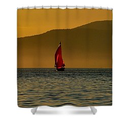 Red Sailboat Shower Curtain