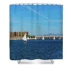 Red Sailboat In The Desert Shower Curtain