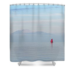 Red Sailboat On Lake Shower Curtain