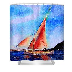 Shower Curtain featuring the painting Red Sails Delight by Angela Treat Lyon