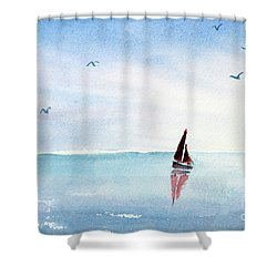 Red Sails On A Blue Sea Shower Curtain
