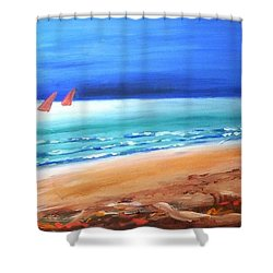 Shower Curtain featuring the painting Red Sails by Winsome Gunning