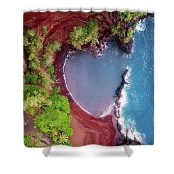 Red Sand Heart Shower Curtain