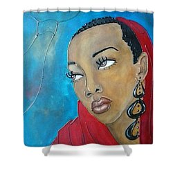 Red Scarf Shower Curtain by Jenny Pickens