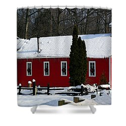 Red Schoolhouse At Christmas Shower Curtain by Desiree Paquette