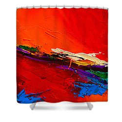 Shower Curtain featuring the painting Red Sensations by Elise Palmigiani