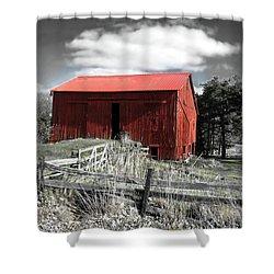 Red Shack Landscape Shower Curtain by Joan  Minchak
