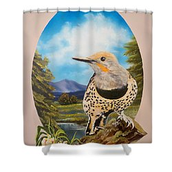Red Shafted Flicker Shower Curtain