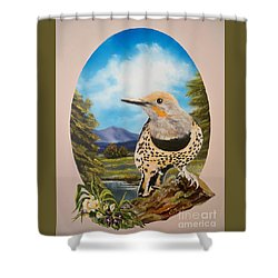 Flying Lamb Productions                       Red Shafted Flicker Shower Curtain