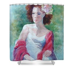 Red Shawl Shower Curtain by Marilyn Jacobson