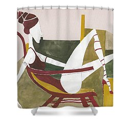 Shower Curtain featuring the painting Red Shoes by Maya Manolova